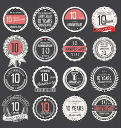 Anniversary retro label collection 10 years vector