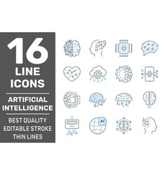 artificial intelligence line icons set brain vector image