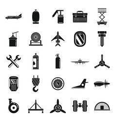Aviation repair icons set simple style vector