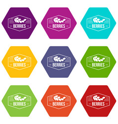 berries icons set 9 vector image