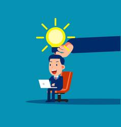 big hand give light bulb business cartoon vector image