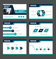 Blue green presentation templates infographics vector