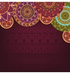 Bordo background with ethnic mandalas vector