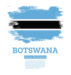 botswana flag with brush strokes independence day vector image