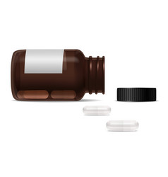 bottle for pills and scattered capsules vector image