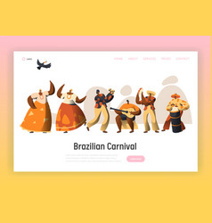 brazilian carnival character landing page woman vector image