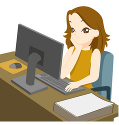 business woman working on desktop computer and vector image