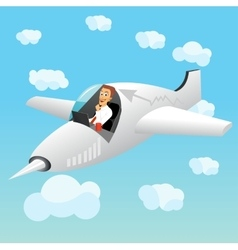 businessman working on laptop in plane vector image