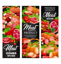 Butcher meat and sausages gourmet butchery food vector