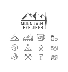 Camping mountain explorer camp badge logo vector image
