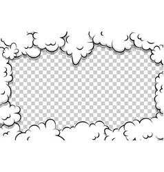 Cartoon puff cloud template on transparent vector
