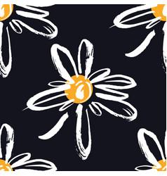 Chamomile seamless pattern black background vector