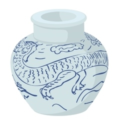 Chinese vase icon cartoon style vector image