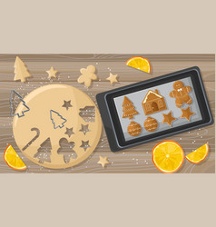 Christmas table with gingerbread cookies dough and vector