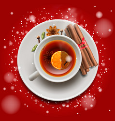Christmas tea with cinnamon and spices on red vector