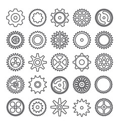 cogwheel outline icons set isolated on white vector image