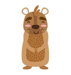 Colorful cute and happy bear wild animal vector