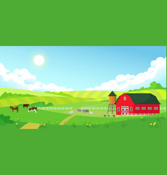 colorful farm summer landscape blue clear sky vector image