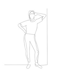 Continuous one line woman lean her elbow against vector