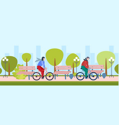 couple riding bicycle healthy lifestyle concept vector image