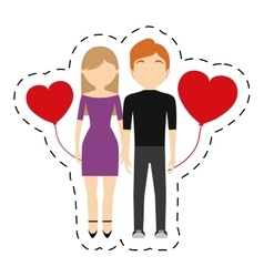 Couple valentine day red hearts balloon vector