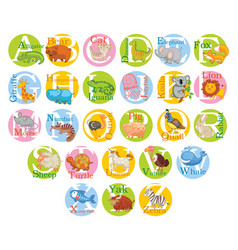 cute animal alphabet set vector image