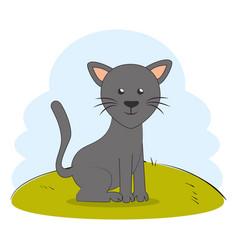 Cute cat pet on grass vector