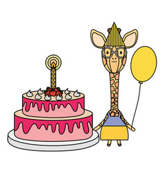 cute giraffe with balloon helium and cake in vector image