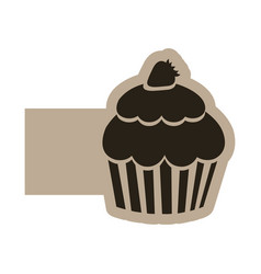 dark contour muffin icon vector image