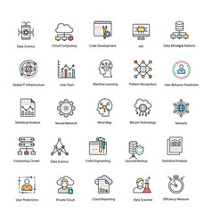 Data science flat icons set vector