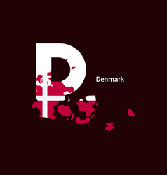 Denmark initial letter country with map and flag vector