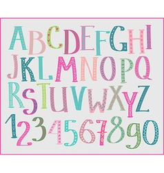 Doodle colorful kids font vector