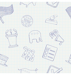 Election hand drawn seamless pattern vector image