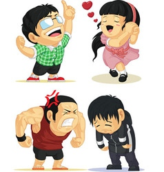 Emotion Set Eureka Love Angry Sad vector image vector image