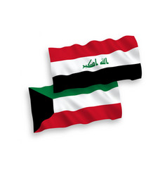 Flags iraq and kuwait on a white background vector