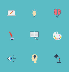 flat icons idea eye artist and other vector image