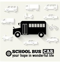Flat school bus background vector image