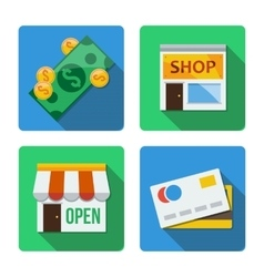 Four different icons in a flat style vector image