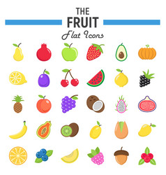Fruit flat icon set food symbols collection vector