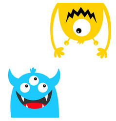 Funny monster set face head blue yellow vector
