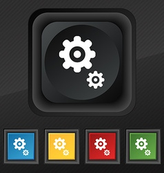 Gears icon symbol Set of five colorful stylish vector