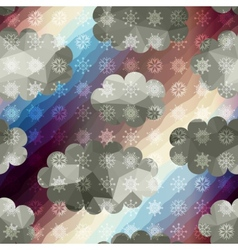 Geometric sky with snowfall vector image