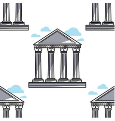 greek pillars ancient architecture seamless vector image