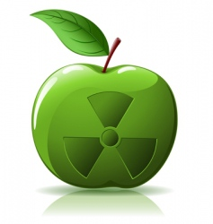 green apple with nuclear sing vector image