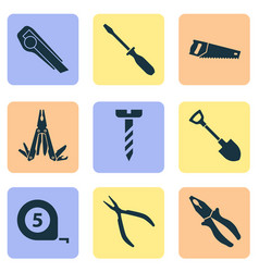 Handtools icons set collection of multifunctional vector