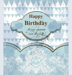 Happy birthday baby card delicate lace vector