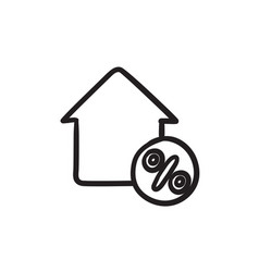 House with discount tag sketch icon vector