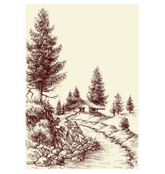 Idyllic landscape hand drawing a footpath to the vector
