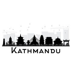 Kathmandu city skyline black and white silhouette vector