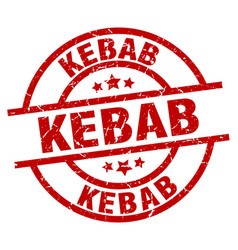 Kebab round red grunge stamp vector